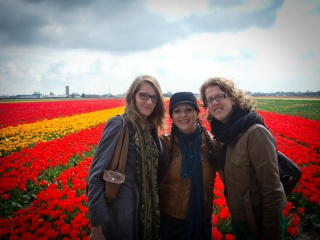 Girls and tulips.