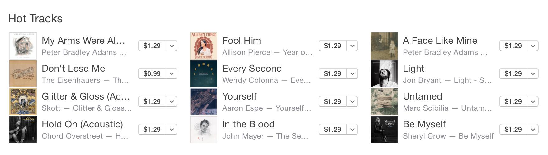 iTunes Hot tracks