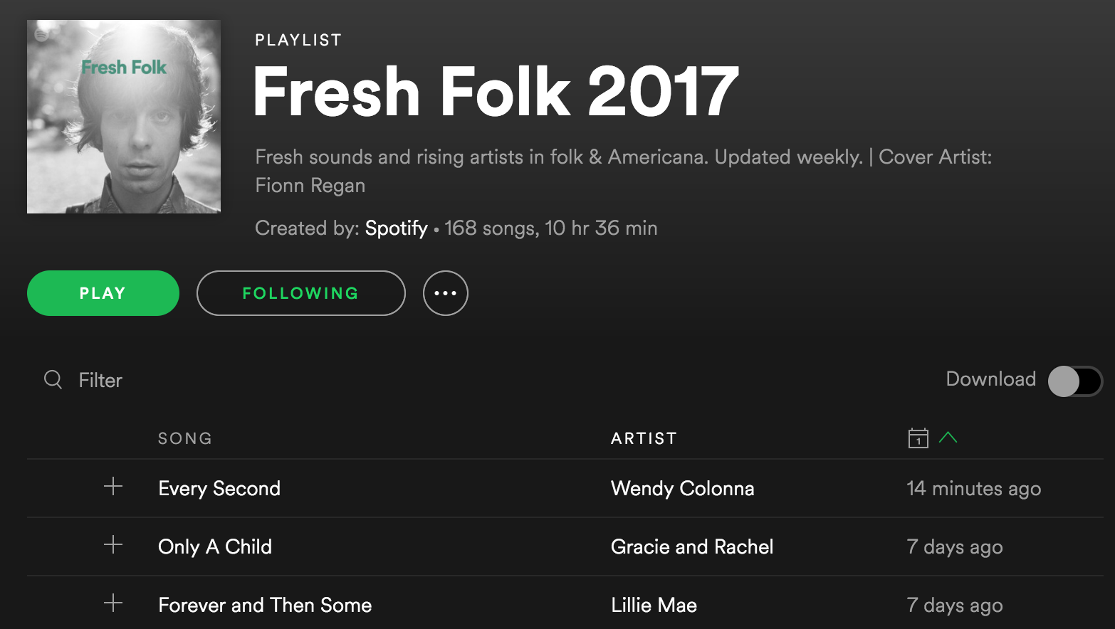 Spotify Fresh Folk 2017